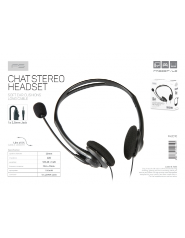 FREESTYLE HEADPHONES WITH MIC AND VOLUME CONTROL 1 X 3.5 MM JACK BLACK
