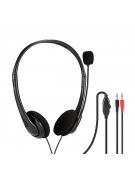 FREESTYLE HEADPHONES WITH MIC AND VOLUME CONTROL 2 X 3.5 MM JACK BLACK
