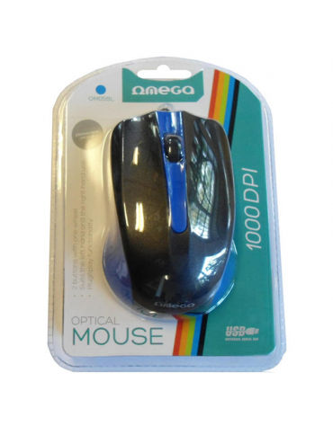 MOUSE OMEGA OM-05BL OPTICAL 800-1200-1600DPI BLUE BLISTER [41787]