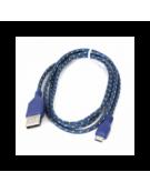 FABRIC BRAIDED MICRO USB ΣΕ USB  1M ΜΠΛΕ & ΚΙΤΡΙΝΟ