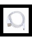 FABRIC BRAIDED MICRO USB ΣΕ USB  1M ΛΕΥΚΟ