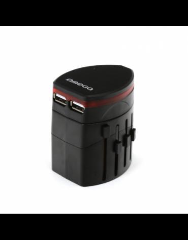 OMEGA ΦΟΡΤΙΣΤΗΣ ΤΑΞΙΔΙΟΥ 220-250V 4 ΣΕ 1 ΜΕ USB (43354) ΜΑΥΡΟ