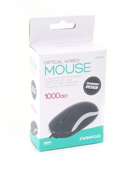 MOUSE OMEGA OM-07 3D OPTICAL 1000DPI VALUE LINE V2 WHITE [43212]
