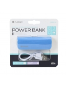 PLATINET POWER BANK ΔΕΡΜΑΤΙΝΟ 2600mAh  ΜΠΛΕ + καλώδιο microUSB [43405]