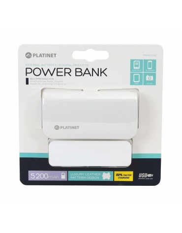 PLATINET POWER BANK ΔΕΡΜΑΤΙΝΟ 5200mAh  ΛΕΥΚΟ + καλώδιο microUSB [43411]