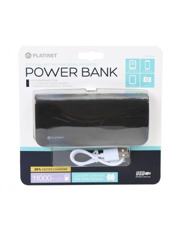 PLATINET POWER BANK ΔΕΡΜΑΤΙΝΟ 11000mAh ΜΑΥΡΟ + καλώδιο microUSB [43454]