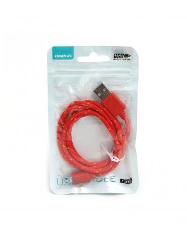 ΥΦΑΣΜΑΤΙΝΟ MICRO USB TO USB ΚΑΛΩΔΙΟ 1M ΚΌΚΚΙΝΟ