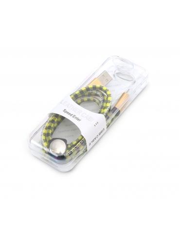 PLATINET MICRO USB TO USB ΔΕΡΜΑΤΙΝΟ ΚΑΛΩΔΙΟ 1M ΚΙΤΡΙΝΟ