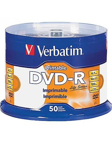 VERBATIM DVD-R 4.7GB 16X WHITE FF InkJet Printable SP 50 ΤΕΜΑΧΙΑ