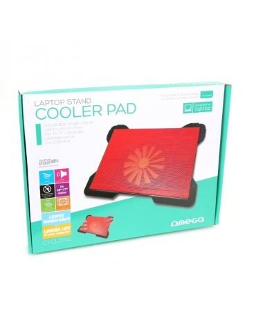 OMEGA LAPTOP COOLER PAD (CHILLY) 1 FAN 4 USB ΘΥΡΕΣ ΚΟΚΚΙΝΟ