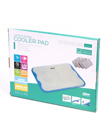 "OMEGA LAPTOP COOLER PAD "" ICE CUBE"" ΜΠΛΕ"