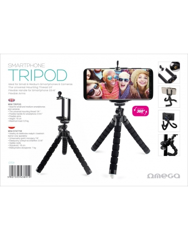 OMEGA UNIVERSAL TRIPOD WITH SMARTPHONE HOLDER