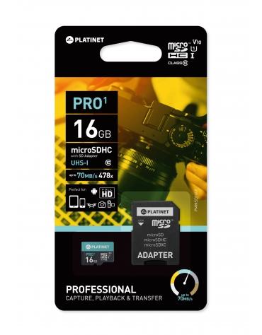 PLATINET microSDHC SECURE DIGITAL + ADAPTER SD 16GB class10 UI 70MB/s [44000]