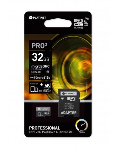 PLATINET microSDHC SECURE DIGITAL + ADAPTER SD 32GB class10 UIII 90MB/s [44003]