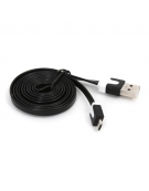 OMEGA USB 2.0 FLAT CABLE microUSB for smartphones, tablets 1M BLACK [41856]