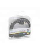 PLATINET USB LIGHTNING FABRIC BRAIDED CABLE 1M BLACK