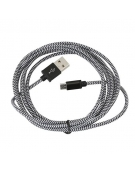 PLATINET MICRO USB TO USB FABRIC BRAIDED CABLE 2M BLACK