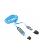 PLATINET USB UNIVERSAL CABLE 2 IN 1: MICRO USB & LIGHTNING PLUGS BLUE 42871